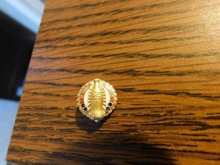 10K Gold Coca Cola Service Pin