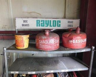 Metal Gasoline Cans/Vintage Rayloc Brake Shoe Display