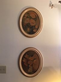 oval framed rose prints