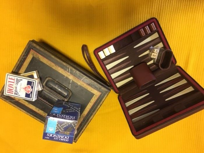 metal bank box and backgammon in zippered case