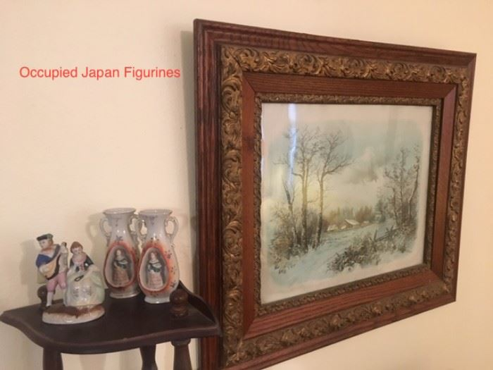 Antique framed watercolor and Occupied Japan figures