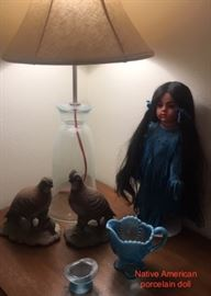 Blue Doll and pair ceramic quail