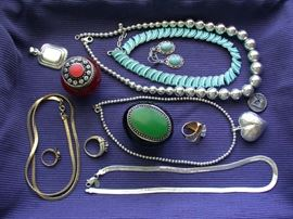 Just some of the gold & sterling jewelry