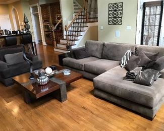 Sofa and coffee table by Bed Down furniture.
