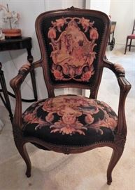 French Provincial tapestry chair