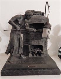 Antique French Spelter sculpture marked 'Le Boulanger Par Rousseau, Sculpt' (The Baker by Rousseau) - lantern and fire pit light up when plugged in.