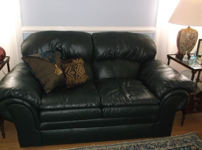 Faux leather love seat
