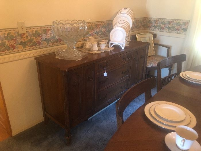 Broyhill  buffet, punch bowl with base.