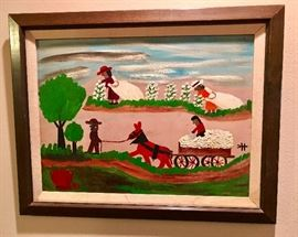 Clementine Hunter Cotton pickers painting