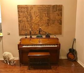 Musette player piano, signed tapestry