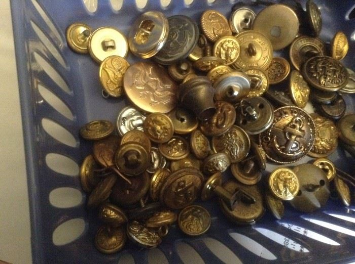 Vintage Button's many Military