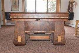 """1928 Brunswick Billards Table, 3  6"""" Thick, Slate Pieces-WIth Ball Return and Beautiful Wood Inlay"""