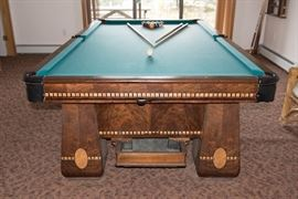 """The Medalliat Brunswick Balke Table, 3  1""""Thick Slate Pieces-WIth Ball Return and Beautiful Burl Walnut"""