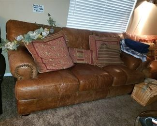 Thick cow hide leather sofa and matching love seat