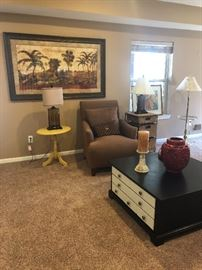ACCENT CHAIR, COFFEE TABLE, MANY LAMPS