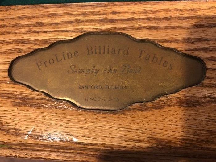 """PROLINE POOL TABLE ( FELT MEASURES: 89"""" x 45"""""""