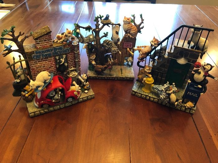 DANBURY MINT , GARY PATTERSON KITTY CITY AND OTHER FIGURINES