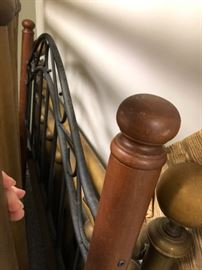 Wrought iron & wooden  headboard