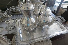 Silver plate serving set.