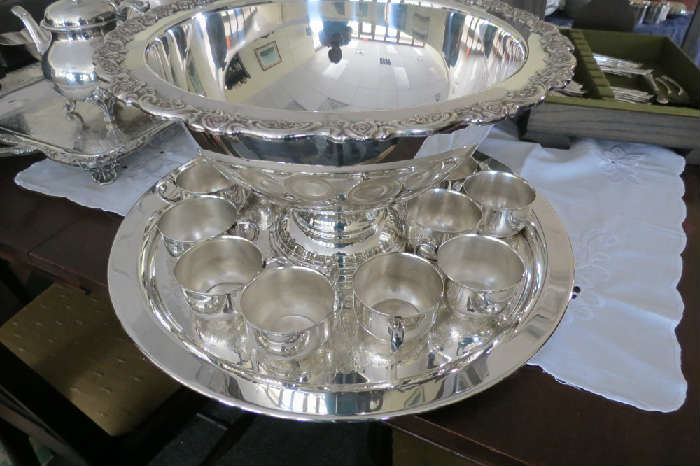 Towle silver plate punch bowl with cups.