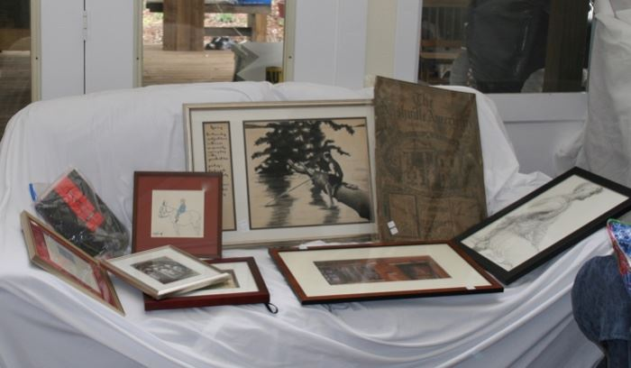 Misc. prints, drawings, signed photograph, called Santa Fe by photographer, Will Connor