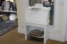 Small white, child's size desk; craft supples