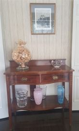 Antique inlaid serving table