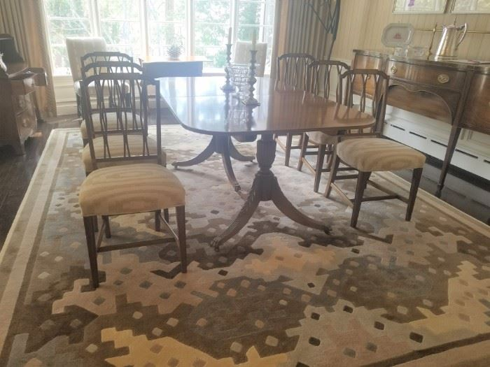 Set of six side chairs, two upholstered end chairs as well