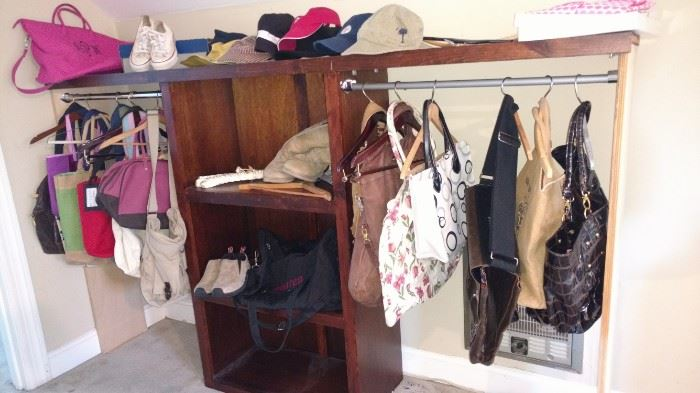 One of several clothing display pieces and purses