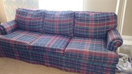 The plaid sofa