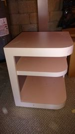 Pink laminate table on wheels
