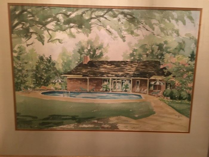 Dot Hector original watercolor of the Heaton's backyard and pool house