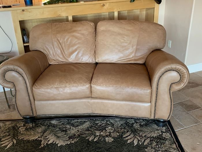 Ranch leather love seat