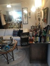 Vintage Bar With Flip Up Top ~ Assorted Barware & Liquor