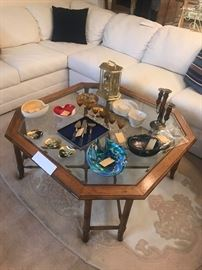 Octagonal Wood & Glass Coffee Table ~ Vintage Murano Glass Bowls