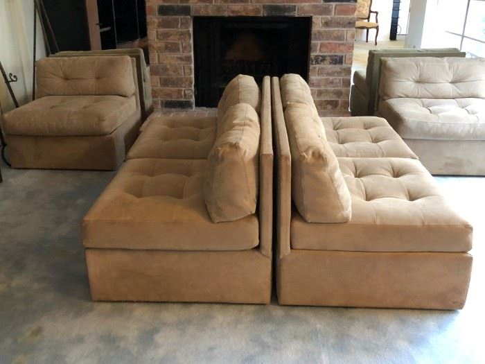 Modernist four-piece sectional suede sofa.