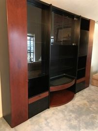 Impressive Italian modernist bookcase/display/wall unit with smoky glass doors