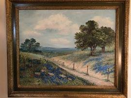"Original oil on canvas Texas bluebonnet painting signed ""DO'r"""