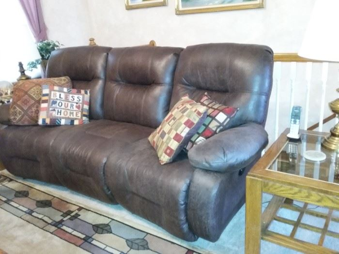 Chocolate Brown Leather power reclining sofa