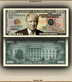 DONALD TRUMP VICTORY PRESIDENT NOVELTY BILL Lot o ...