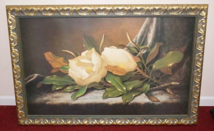Large Floral Picture on canvas in a nice, wide fra ...