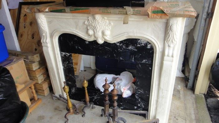 French style marble fire place with  insert