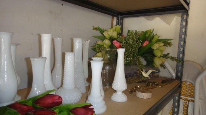 White Milk glass vases