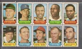 1969 Topps Baseball Card Stamps Uncut Panel w Cat ...