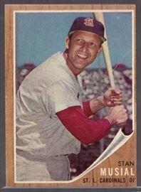 1962 Topps Stan Musial 50 St. Louis Cardinals HOF