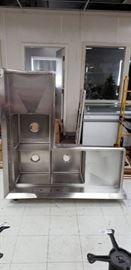 3 Compartment SS Corner Commercial Sink with Legs