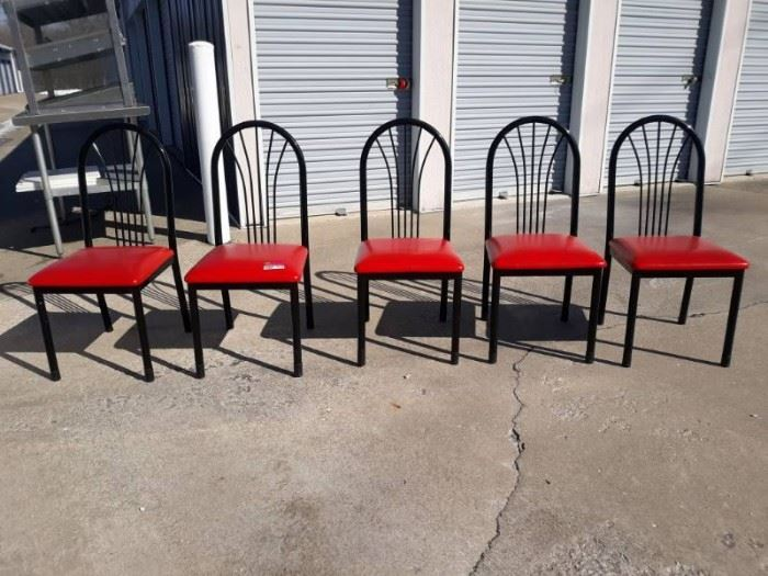 5 Black and Red Metal and Vinyl Cushioned Chairs