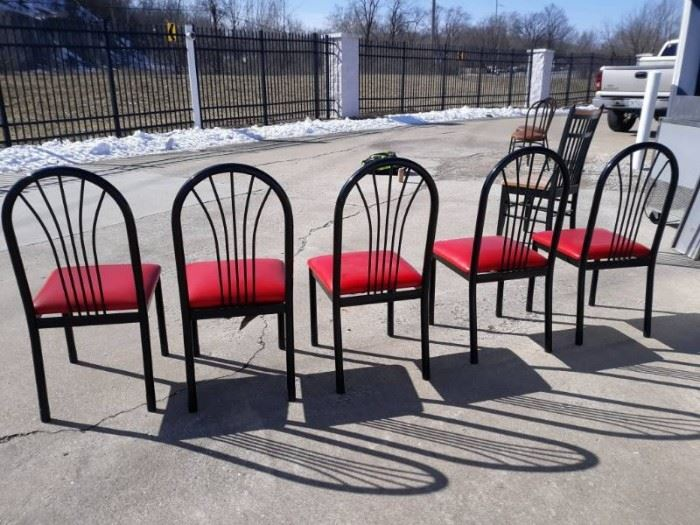 5 Black and Red Metal and Vinyl Cushioned Chairs..