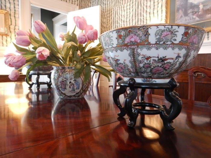 CHINESE BOWLS AND STANDS