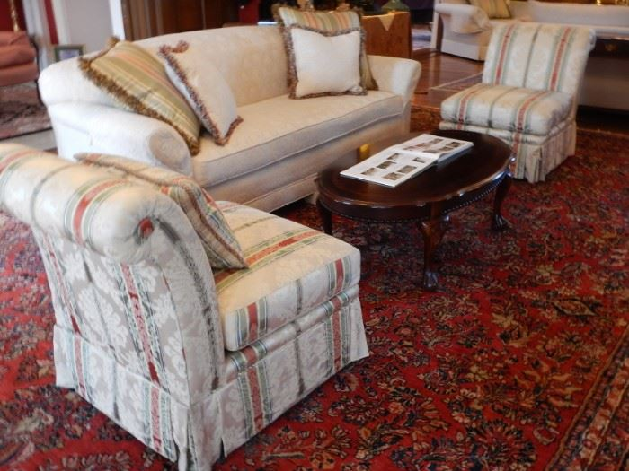 PAIR OF UPHOLSTERED CHAIRS AND SOFA